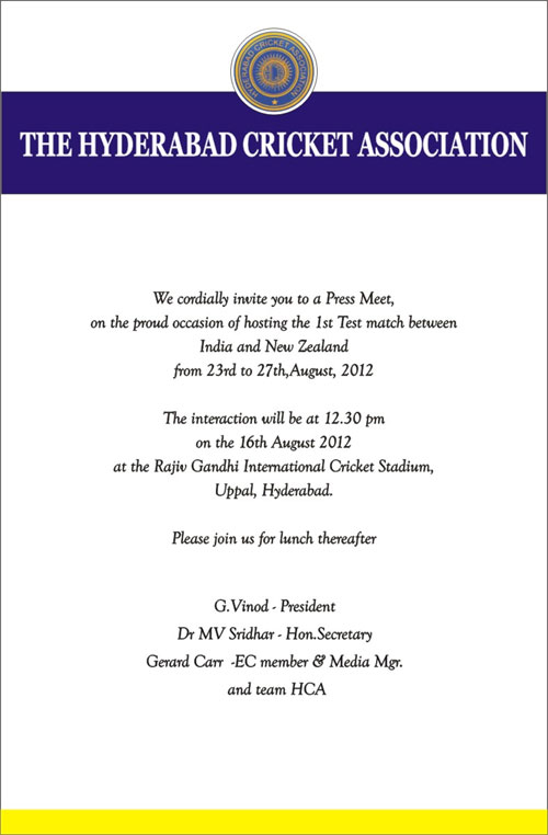 Hyderabad Cricket Association Daily Press Release